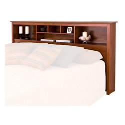 Prepac - Prepac Monterey King Bookcase Headboard in Cherry Finish - Prepac - Headboards - CSH8445 - The versatile Monterey Bookcase Headboard features three compartments which provide ample space for bedside reading material alarm clocks and other necessities. Contemporary in design and style it will be the perfect addition to a bedroom with a country casual or transitional decor.