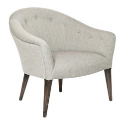 "Aidan Gray - AG Hom Helen Occasional Chair - The design-forward Helen occasional chair delivers striking mid-century modern style. A rounded silhouette and sleek legs offer this Aidan Gray Hom tufted seat contemporary intrigue. 27""W x 30""D x 29""H; Charcoal brown birch finish; Ives white-gray hemp & viscose upholstery; Handmade; Finish variations may occur"