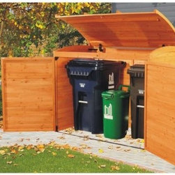Leisure Season Horizontal Storage Shed - Even though you may need to keep trash cans in your yard, the Leisure Season Horizontal Storage Shed will keep your yard from looking like trash. This handsome shed sports an appealing tongue-and-grove construction and medium brown finish. It's designed to keep your trash and recycling receptacles organized and tidy in one centralized, convenient location. More than just attractive and convenient, however, this organizer keeps your yard and neighborhood more secure with lockable doors that will help keep critters from moving in. The pneumatic lid makes depositing your trash a cinch since it will stay up independently, allowing single-handed deposits without it slamming back down or pinching fingers.The China fir Cypress wood used in construction naturally maintains inherent oils that enable it to withstand the elements. Well-known for its resistance to decay and insects, this dimensionally stable wood is ideal for outdoor construction. This stained and finished piece will beautifully fit a number of architectural and design styles.For your convenience, liftgate service is included with this purchase. This means that upon delivery, the carrier will use a liftgate on the truck to lower your item to the ground. You will then need a dolly or handtruck, or assistance with the product from that point on. Many retailers charge for this service of getting the package off the truck or require the customer to do it themselves.About Leisure SeasonLeisure Season Ltd. is a premier manufacturer specializing in unique home and garden products. With more than 30 years of industry experience, they have established a high standard of workmanship at affordable prices. This is accomplished with smart design that you can depend on, creating attractive multifunctional pieces that will last. Quality design begins, of course, with quality materials. Part of the Cypress family, the China fir that is used to make Leisure Season's outdoor furniture, outdoor leisure products, and outdoor storage is noted for its rich grain, texture, and color as well as for its natural resistance to decay and insects. So whether your outdoor furnishings tend toward the rustic, the traditional, or the postmodern, these versatile pieces will reflect your good taste and will complement the look of your home and garden.