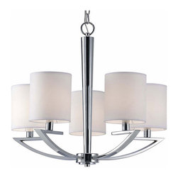 Canarm - Milano Chrome Five-Light Chandelier - Distract and delight with the Milano in Chrome finish and white fabric shade  - No Bulb Included   - 1 year - Limited Warranty Canarm - ICH425A05CH