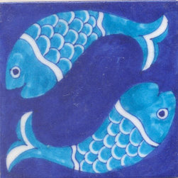 "Knobco - Tiles 4x4"", Two Turquoise Fish With Blue Base - Two Turquoise Fish With Blue Base Tiles from Jaipur, India. Unique, hand painted tiles for your kitchen or other tiling project. Tile is 4x4"" in size."