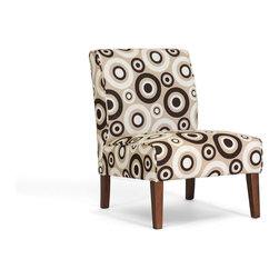 """Wholesale Interiors - Davis Tan Fabric Modern Accent Chair - Mod and marvelous is this eye-catching modern living room chair! The Davis Modern Accent Chair is padded with foam cushioning for comfort, built with a wooden frame for stability, and finished with a cream, tan, and brown circle print polyester fabric. The modern club chair's legs are finished with a medium brown stain. Made in Malaysia, assembly required. Spot clean by first testing on an inconspicuous area of the upholstery. Product dimension: 22.25""""x 27.25""""D x 29.75""""H, seat dimension: 22.5""""W x 20""""D x 15.5""""H."""