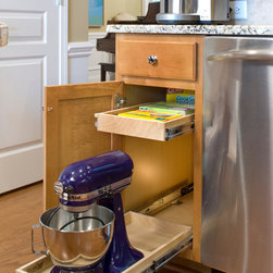 Kitchen Pull Out Shelves - ShelfGenie's custom pull out shelves hold up to 100 pounds.  Move those bulky kitchen appliances to a cabinet when not in use to free up room on your kitchen counter!