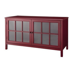 Threshold Windham Media Cabinet Stand, Red - Media cabinets do not have to be overly large. If your TV is the right size, a smaller media cabinet like this one is perfect. I love its color and extra storage cabinets.
