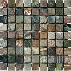 Verde Amazonia Tumbled Square Pattern Mesh-Mounted Marble Tiles - 1 in. x 1 in. Verde Amazonia Mesh-Mounted Square Pattern Marble Mosaic Tile is a great way to enhance your decor with a traditional aesthetic touch. This tumbled mosaic tile is constructed from durable, impervious marble material, comes in a smooth, unglazed finish and is suitable for installation on floors, walls and countertops in commercial and residential spaces such as bathrooms and kitchens.