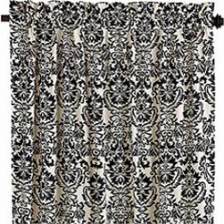 Damask Window Panel - Add print that can easily be switched in and out of your room with these black and off-white damask patterned curtains.