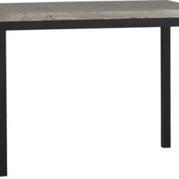 Concrete Top/ Natural Dark Steel Base 48x28 Parsons High Dining Table - Start with a great base. Top it off with an eye-catching top. Voila—the perfect table. Hot-rolled steel frame supports with clean simple lines, hand-welded and ground at each corner to create a raw, torched millscale finish. Gorgeous warm grey concrete top mixes up a global compound sourced in Vietnam—marble, stone and granite from the mountainous Dalat region and grassy fibers from the Mekong Delta for added strength. Clean and modern material is also eco-friendly, handmade in shops powered without fossil fuels. Due to the handmade nature of the concrete mix, color will vary and may change over time. Seats four.