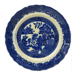 Lavish Shoestring - Consigned 2 Deep Flow Blue Pottery Dinner Plates in Willow Pattern - This is a vintage one-of-a-kind item.
