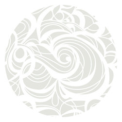 "Huddleson Linens - Silver Swirl Linen Tablecloth, 108"" Round - Swirling, fluid two-color print in silver and white that grows, shrinks, curves and circles - but never ends.  Gives a beautiful flow and depth to your table decor.  Silver-grey and white linen tablecloth.  100% top quality, luxurious, soft Italian linen. Machine washable"
