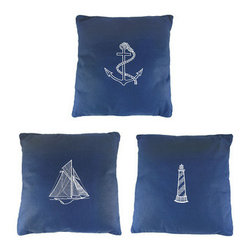 Set Of 3 Nautical Theme 14 in. X 14 in. Throw Pillows - Add a touch of color to your nautical decor with this set of 3 blue and white embroidered throw pillows. The pillows have a sailcloth-like exterior, and are embroidered with nautical graphics, featuring an anchor, a lighthouse and a sailing ship. The pillows are 14 inches by 14 inches, are about 4 inches thick, and are polyfill stuffed. They make a great gift for friends and family.