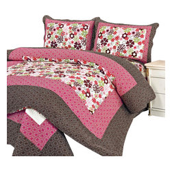 Blancho Bedding - [Eranthe]100%Cotton 3PC Floral Vermicelli-Quilted Patchwork Quilt Set Full/Queen - Set includes a quilt and two quilted shams (one in twin set). Shell and fill are 100% cotton. For convenience, all bedding components are machine washable on cold in the gentle cycle and can be dried on low heat and will last you years. Intricate vermicelli quilting provides a rich surface texture. This vermicelli-quilted quilt set will refresh your bedroom decor instantly, create a cozy and inviting atmosphere and is sure to transform the look of your bedroom or guest room.