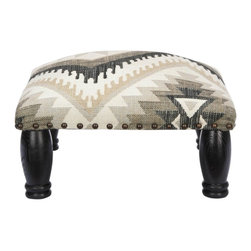 Safavieh - Makalo Ottoman - Adorned with a rich, bold gray, black and white fabric inspired by Navajo weaving, the Makalo stool brings casual character to any room. Black colored legs in birch wood give added weight and presence to this powerful visual piece.