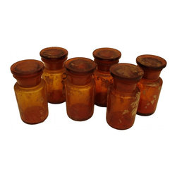 Italian Apothecary Jars - Italy, Late 19th century Set of 6 handblown, antique-glass apothecary jars with some visible remnants still in the bottles. The outside of each bottle also contains crumbly vestiges of the past which add to their age-worn patina.