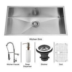 Vigo - Vigo Undermount Stainless Steel Kitchen Sink, Faucet, Grid, Strainer and Dispen - Vigo keeps your needs in mind when it comes to kitchen essentials.