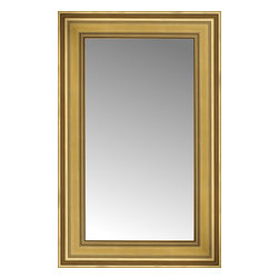 """Posters 2 Prints, LLC - 18"""" x 26"""" Arqadia Gold Traditional Custom Framed Mirror - 18"""" x 26"""" Custom Framed Mirror made by Posters 2 Prints. Standard glass with unrivaled selection of crafted mirror frames.  Protected with category II safety backing to keep glass fragments together should the mirror be accidentally broken.  Safe arrival guaranteed.  Made in the United States of America"""