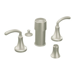 """Moen - Moen T5215BN Brushed Nickel Bidet Faucet Trim Two Lever Handle 8""""-16"""" Center - Moen T5215BN is part of the Icon Bath collection. Moen T5215BN is a new style bathroom, Bidet faucet trim. Moen T5215BN has a Brushed Nickel finish. Moen T5215BN two handle widespread Bidet faucet mounts in a 3-hole 8"""" - 16"""" Center bidet. Moen T5215BN two handle widespread trim requires Moen's 9200 MPact Bidet Rough-in valve to make this faucet complete. Moen T5215BN is part of the Icon bath collection, taking ordinary to the extraordinary combining contemporary decor with modern style. Moen T5215BN is not recommended for non-rim flush fixtures. Moen T5215BN two lever handle provides ease of operation. Brushed Nickel has a Lifeshine finish guarantee from Moen and provides style and durability. Moen T5215BN metal lever handle meets all requirements ofADA ICC/ANSI A117.1 and ASME A112.18.1 M/CSA B125.1, NSF 61/9 and proposition 6"""". Water Sense Certified. Lifetime limited Warranty."""