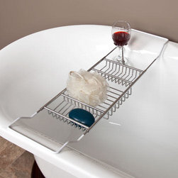 Stillwell Tub Caddy with Wine Glass Holder - Keep bath supplies close by and organized with the Stillwell Tub Caddy. This bath accessory features expandable arms to fit a variety of tub widths and a wine glass holder. Add the optional reading rack for an enhanced relaxing experience.