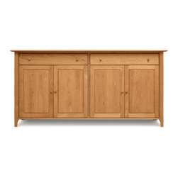 Copeland - Sarah Large Buffet - Sarah Large Buffet  by Copeland FurnitureCombining the warmth of solid Cherry with the beautiful forms of Shaker furniture design, the Sarah large buffet is simple and clean, with scooped legs and an overhanging top surface.  This wide buffet consists of two top silverware drawers, with either 4 doors or a 2-door, 3 drawer configuration on the bottom. Matching Cherry handles finish the cabinet nicely, and door panels are detailed to add dimension to the front. Self-closing door hinges and an open interior with adjustable shelving make the buffet a pleasure to use.  The drawers feature asymmetrical English dovetail joinery and fully finished and sanded interiors with under-mounted, soft-close drawer slides. The silverware drawers keep your utensils sorted and protected with Guardian Anti-Tarnish lining and cloth.The Sarah large buffet is made from solid Cherry hardwood with Natural, Autumn, Cognac, Saddle, Smoke, or Windsor finish. Hand-crafted with impeccable quality a