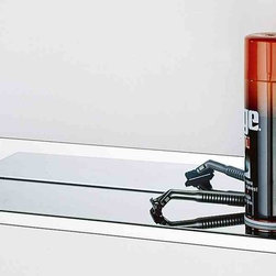 Meek Manufacturing Company - 60-Inch x 5-Inch, Integral Shelf, Bright Finish - This shelf is constructed of 18 gauge type 304 stainless steel with welded and polished corners. It features a 1/2-inch drop edge with the front edge hemmed. It can be mounted behind the M1100 and the M1200 Angle Snap Frame or it can be mounted independently as a utility or janitorial shelf. The shelf mounts flush with the bottom of the angle frame