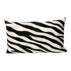 """Black and White Zebra Print 12"""" x 20"""" Throw Pillow - This wonderful indoor / outdoor decorative throw pillow looks great in living rooms or patios or wherever you want a dash of color. Made of 100% polyester microfiber. The cover has a zipper closure so you can take out the fiberfill inner pillow for hand-washing if you need to. The pillow measures 12 inches by 20 inches."""