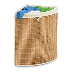 Bamboo Wicker Corner Hamper - Honey-Can-Do HMP-01618 Wicker Corner Hamper with Liner. A nice solution for small bedrooms and baths, this naturally beautiful corner hamper looks as good as it is functional. Capable of storing multiple loads of laundry, it is manufactured from a moisture resistant material. Includes a machine washable cotton canvas liner that can be easily removed for cleaning. Keep clothes off of the floor and your space neat and clean with this wicker-style hamper.