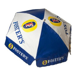 DestinationGear - Fosters Beer 6 ft Vinyl Umbrella  - Patio Pole, Fosters, Patio - The Foster's Lager 6-ft. Patio Umbrella is sure to keep friends and customers well protected from the sun's intense rays this summer and dry during the winter months. It makes a fun option for your backyard or your business. This blue-and-white hexagonal shade of heavy-duty vinyl features the well-recognized Foster's Lager logo and colors and will handle weather beautifully. It's easy to open with a push-up lift, and tilts so the sun is always sufficiently blocked.  A 25- to 50-pound stand (not included) is recommended for thru-table use; for free-standing use, we recommend a 50-pound stand (not included).
