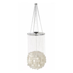 Kouboo - Capiz Seashell Ball-Shaped Chandelier - Hundreds of hand cut Capiz seashells form an almost perfectly shaped floating ball that will light up any room with beauty. The translucent shells and the contemporary feel of this chandelier make this the perfect piece even in a home that is far from the coast. Place it over the table in your dining room, as a center piece in your living room or just to impress your guests when stepping into your foyer. 1 year limited warranty.