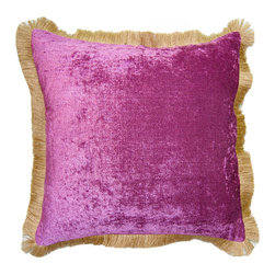 """Square Feathers - Magenta Jute Fringe Throw Pillow - This vibrant throw pillow lends plush texture and vivid color in the living room or bedroom. Accented with golden brown jute fringe, the accent stands out with a bright magenta facade. This decorative pillow is handmade from polyester chenille and features a zipper closure. Includes 90/10 feather down insert. Dry clean only. Made in the USA. Available in several sizes. 24""""W x 12""""H. 20""""W x 20""""H. 22""""W x 22""""H. 24""""W x 24""""H. 26""""W x 26""""H."""