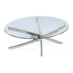 Magnussen Furniture - Zila Oval Cocktail Table - All pieces are constructed of metal tubing and glass. All pieces feature10mm clear tempered glass with ogee edge with no bevel on top. All pieces feature metal tube legs and adjustable levellers. Contemporary styling. Brushed Nickel finish. Metal tubing and 10mm clear tempered glass with ogee edge and aluminum pucks. Brushed Nickel Finish. 1 Year Limited Warranty. 48 in. W x 30 in. D x 18 in. H (64 lbs.)Inspired by the vintage starburst motifs prevalent in many 1950s tabletop designs, our Zila collection translates that bright, mid-Century sparkle into contemporary decor. Each clear, tempered glass disk is delicately suspended atop an interlaced metal strut base. The feeling is fresh, airy, and unmistakably original.