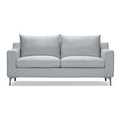 """Interior Define - Sloan modern sofa two-seater loveseat 67"""" - Interior Define's unique approach bypasses unnecessary middlemen and markups to provide high-quality, price-friendly, and made-to-order designs. The Sloan 67"""" loveseat epitomizes classic-contemporary styling and is one of our most popular couches because of its versatility and great value. It's great for smaller spaces like apartments and ideal for unique floor plans, given its customization options. The seat cushions are made with soft foam to give the sofa a very comfortable, plush feel. The metal legs provide a unique modern accent to the sofa, and can be substituted for wooden legs. The Sloan 67"""" two-seater has a number of fabric options and can be adjusted in length by plus or minus 4 inches. The Sloan is also available in a larger 79"""" version or as an accent chair. Standard dimensions: 67""""W x 35""""D x 33""""H."""