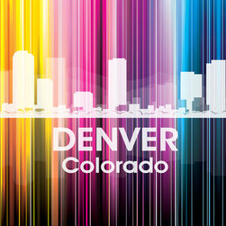 Denver CO Vertical-Lined Rainbow Print - At the heart of the Centennial State, the capital city of Denver shines bright in a rainbow of color. This unique mixed-media artwork allows you to show off a little city pride with digital and photographic layers.