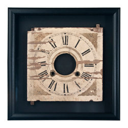 Salvatecture Studio - Framed Vintage Wood Clock Face 3 - It's high time for a design accessory that's unlike any other. A portion of a vintage clock has been framed and mounted inside a jet black wooden box, drawing attention to the weathered piece of machinery contained within. Classic appeal has never looked so contemporary.