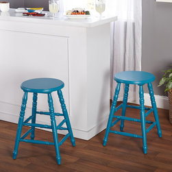 Simple Living - Simple Living Emmet 24 inch Dining Stool (Set of 2) - Add a colorful urban country look to your dining area with these classic turned legs stools. Constructed of sturdy rubberwood,these stools will brighten any home's decor.