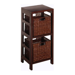 Winsome Trading, INC. - Winsome Wood Leo Wood 2 Tiered Shelf with 2 Rattan Baskets - Two sectioned narrow wood shelf with two small rattan storage baskets. Elegant yet functional. Mix and match with the other espresso storage shelves in our Leo collection.
