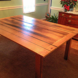 Dining Table Reclaimed Oak and Cherry with Ebony inlay. -