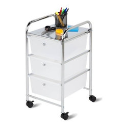 3 Drawer Rolling Cart - Honey-Can-Do CRT-02215 3 Drawer Rolling Storage Cart, Chrome/White.  Perfect for the home, office, or dorm, this 3-drawer organizer features semitransparent white drawers for easy identification of contents. The cart features 3 spacious drawers that are great for paper, tools, accessories, bathroom essentials, and more.  Smooth glide casters make this cart easy to maneuver and lock in place. A perforated chrome top surface provides even more storage space, and can double as a night-stand.  Two locking wheels keep the cart securely in place as needed, and unlock for easy maneuvering around the room. The sturdy chrome frame is both attractive and functional. Assembly tools and instructions are included.