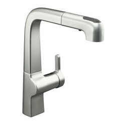 KOHLER - KOHLER K-6331-VS Evoke Single-Control Pull-Out Kitchen Faucet in Stainless Steel - KOHLER K-6331-VS Evoke Single-Control Pull-Out Kitchen Faucet in Stainless SteelEvoke Pullout Kitchen faucets deliver a fresh, streamlined appeal to today's kitchens, creating a sense of charm and warmth so often lost in contemporary design. Available in two sizes, the single-control design of Evoke remains intuitive to use and minimal in its form, creating a clean, uncluttered aesthetic. Unsurpassed functionality remains at the heart of the Evoke design with superior spout reach and clearance for large sinks, pots and pans, ProMotion(R) Technology for quiet, smooth and easy operation and a three function sprayhead for enhanced flexibility in and outside the sink.