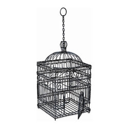 Achla - Large Sized Old Victorian Bird Cage - Large Victorian style birdcage acts as lovely household or terrace décor.  Loops, curlicues, and wavy patterned scrollwork compose the body.  Wrought iron construction ensures robust and durable structural integrity.  Topping the birdcage is a cathedral style dome cap.  A strong hanging chain with a circular grasp suspends the birdcage. * Finish: Powder Coated - Steel Gray. Construction: Wrought Iron. Overall measurements: 12.5 in. L x 12.5 in. W x 22.5 in. H. . Hanging chain: 10 in. L