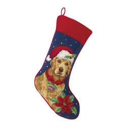 Peking Handicraft - Golden Retriever Needle Point Stocking - With its charming vintage design and intricate needle point quality, our adorable pet stockings are ready to fill with toys and treats for your best friends! This well made stocking features a plush velveteen color coordinated back and is meant to last for years! Indeed Decor will donate 20% of profits to animal rescue charities. Dry Clean Only.