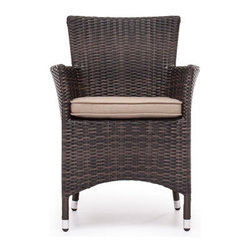 Grandin Road - South Bay Chair - Chair and table crafted from all-weather polypropylene woven over a weather-resistant aluminum frame. Select a Chair, a Table, or an Umbrella; each piece is sold separately. Seat cushion and umbrella fabric is UV- and water-resistant. Some assembly required for umbrella; chair and table arrive assembled. Umbrella includes base. Alfresco dining is made simple with our South Bay Outdoor Collection. Natural-hued upholstery of the cushions and umbrella complements the sculpted, mocha-hued woven polypropylene forms of the chair and table.. . . . . Clean surfaces with a dry cloth; upholstery with a damp cloth and mild fabric cleaner. Imported.