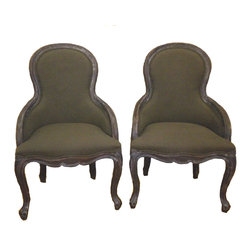 """Kenza - Pair of Contemporary Armchair - Pair of Contemporary Armchairs which are very comfortable. Frame is made of elmwood and fabric is linen. Has nice curved legs. French style. Seat H: 18"""""""