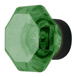 Emerald Old Town Cabinet Knob - This striking knob made of lead crystal and is hand polished for maximum clarity and brilliance. Its eye-catching emerald green hue is magnified by the silver mirroring on the back side of the knob, replicating antique design.