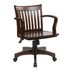 Office Star - Office Star Deluxe Wood Banker's Chair with Wood Seat in Espresso - Office Star - Office Chairs - 105ES