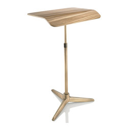 Plunk Desk - Plunk Desk-Red Gum/Brass - Plunk Desk is a portable, adjustable standing desk handcrafted from wood and aluminum. Plunk fits into a custom bag and no tools are needed for assembly.