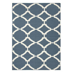 Jaipur - Flat-Weave Geometric Pattern Wool Blue/Ivory Area Rug, 8 x 10 - An array of simple flat weave designs in 100% wool - from simple modern geometrics to stripes and Ikats. Colors look modern and fresh and very contemporary.
