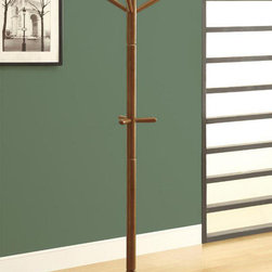 Monarch - Oak Contemporary Solid Wood Coat Rack - Organize your home with this contemporary solid wood coat rack. A beautiful lustrous oak finish, and a sturdy pedestal base brings plenty of stylish storage into your living space. Its simplicity makes it easy to create functionality in your entryway, hallway or living room. This tripled tiered coat rack is ideal, convenient and a necessity for all.