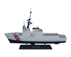 """Handcrafted Model Ships - National Security Cutter 18"""" - Wooden United States Coast Guard Model - Sold fully assembled. Ready for Immediate Display - Not a model ship kit... Honoring the hard work and dedication of the United States Coast Guard, the USCG National Security Cutter model is a well-crafted replica of the real ships used by the US Coast Guard. 18"""" Long x 6"""" Wide x 17"""" High"""