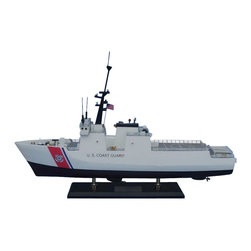 "Handcrafted Model Ships - National Security Cutter 18"" - Wooden United States Coast Guard Model - Sold fully assembled. Ready for Immediate Display - Not a model ship kit... Honoring the hard work and dedication of the United States Coast Guard, the USCG National Security Cutter model is a well-crafted replica of the real ships used by the US Coast Guard. 18"" Long x 6"" Wide x 17"" High"