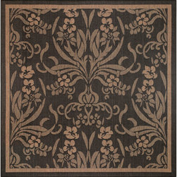 COURISTAN INC - Recife Garden Cottage Black/ Cocoa Rug (7'6 x 7'6) - This rug is designed to make entryways and patio decks warmer and more inviting. This Couristan Recife rug is power-loomed of fiber-enhanced Courtron polypropylene and is all-weather,pet-friendly,mold and mildew resistant.