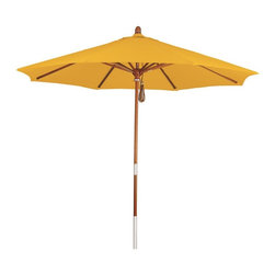 Phat Tommy - 9 ft. Market Patio Umbrella in Yellow - Eight reinforced wood ribs. Pulley lift. Stainless steel hardware. Suitable for tables up to 54 in. round. 1.5 in. Dia. marenti wood pole. Fade, rot and mildew resistant canopy. Recommended 50 lbs. base weight and 25 lbs. if used with a patio table. UV resistant solution dyed polyester canopy. Canopy Warranty: 4 years. Frame Warranty: One year. Made from canvas grade pacifica fabric and wood. 108 Dia. x 102 in. H (17 lbs.)The phat tommy umbrella is part of our Outdoor Oasis Line. This will ensure your umbrella stays looking brand new, season after season.